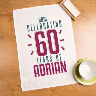 Personalised 60th Birthday Tea Towel