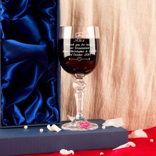Personalised Groomsman Wine Glass With Wine Charm and Gift Box