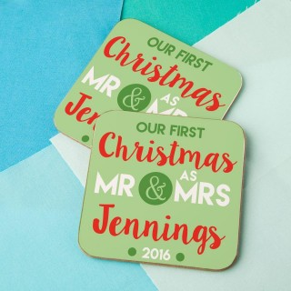 Customised First Christmas as Mr & Mrs Double Coaster Set