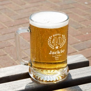 40th Wreath Unique Engraved Glass Pint Tankard: Special Offer