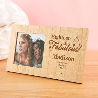 Personalised 18 and Fab Wooden Photo Frame