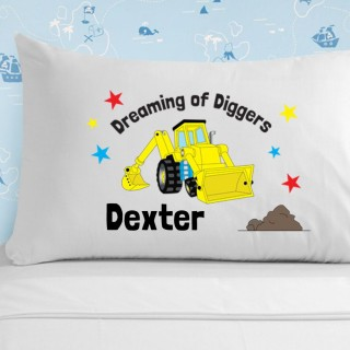 Personalised Boys Yellow Digger Pillowcase