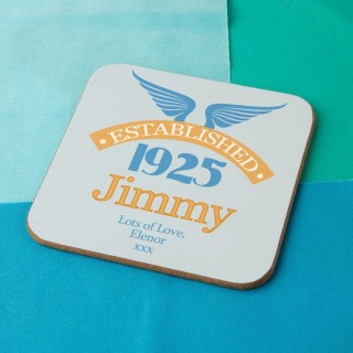 90th Birthday Established Year Drinks Coaster for Him