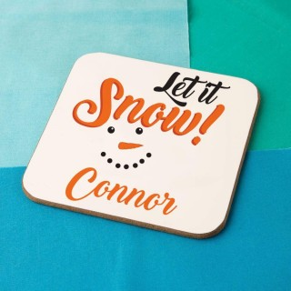 """Let it Snow"" Personalised Snowman Coaster"