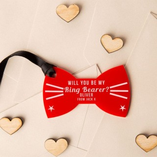 Personalised Will You Be My Ringbearer Acrylic Bow Tie