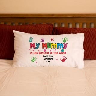 Personalised Mum Mummy Hand Print Pillowcase