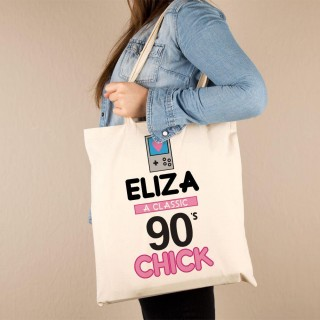 Personalised 90s Chick Cotton Tote
