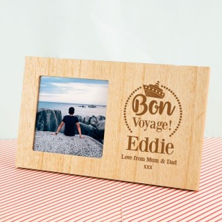 Customised Bon Voyage Wooden Photo Frame