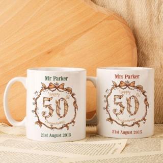 Personalised 50th Wedding Anniversary Mug Set