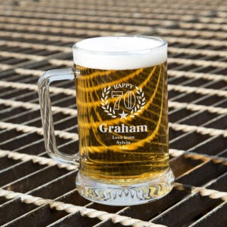 Unique 70th Wreath Engraved Glass Beer Tankard: Special Offer