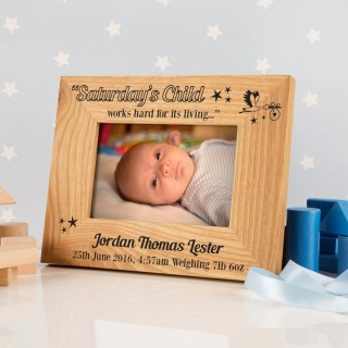 Saturdays Child Personalised Oak Frame