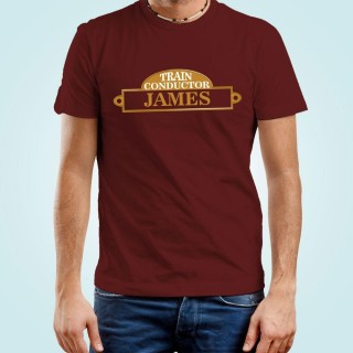 Customised Mens Train Conductor Maroon T-Shirt