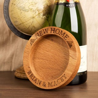 New Home Wooden Wine Bottle Coaster