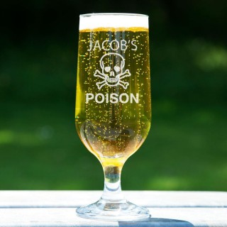 Customised Cross Bones Beer Glass