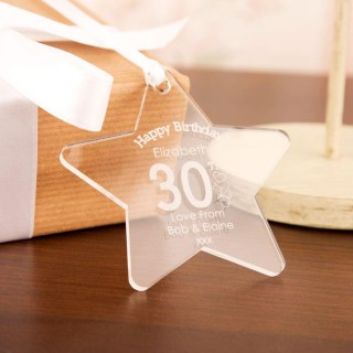 Personalised 30th Birthday Acrylic Star