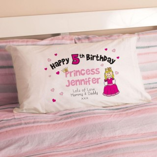 Personalised Girls Birthday Princess Pillowcase