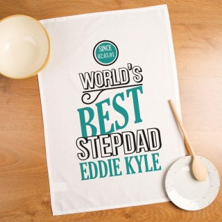 Customised Worlds Best Stepdad Tea Towel