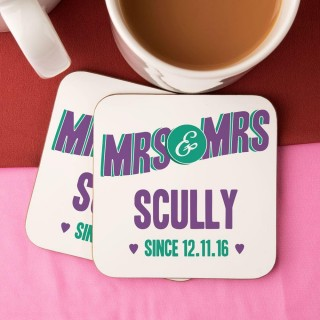 Personalised Mrs & Mrs Double Coaster Set