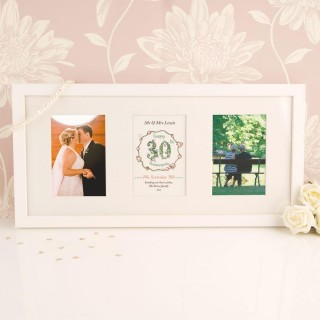 Personalised 30th Pearl Wedding Anniversary 3 Aperture Frame