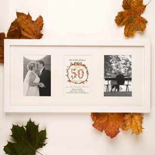 Personalised 50th Golden Wedding Anniversary 3 Aperture Frame