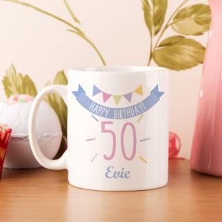 50th Birthday Bunting Mug For Her