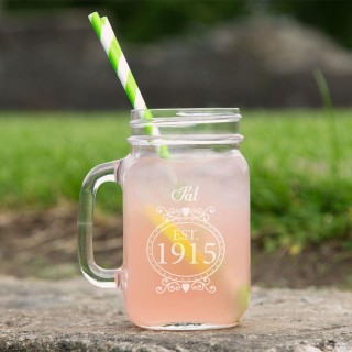 Engraved 100th Birthday Glass Mason Jar For Her