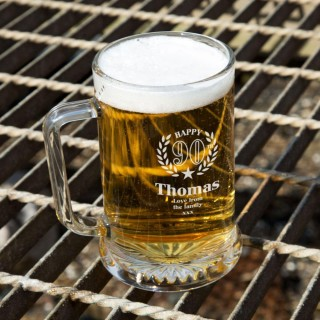 Personalised 90th Wreath Engraved Glass Pint Tankard: Special Offer