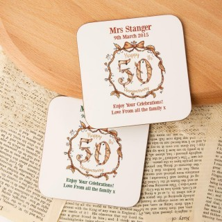 Personalised 50th Golden Anniversary Double Coaster Set
