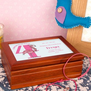 Flamingo 4th Birthday Customised Musical Jewellery Box