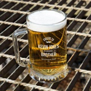 Personalised Awesome Brother Glass Pint Tankard: Special Offer