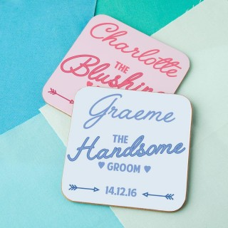 Unique Blushing Bride & Handsome Groom Double Coaster Set