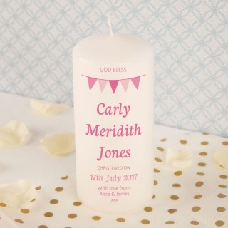 Customised Pink Bunting Christening Pillar Candle