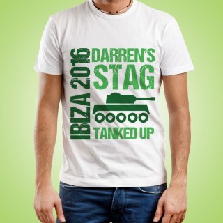 Personalised Mens Tanked Up Stag Do Tee