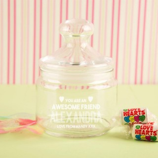 Personalised Awesome Friend Glass Sweet Jar