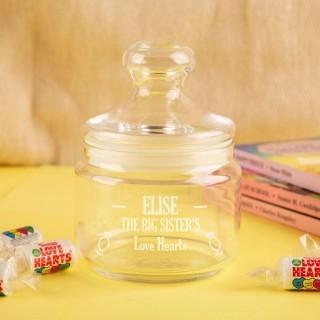 Personalised Big Sister Glass Sweet Jar