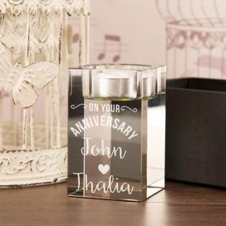 Personalised Anniversary Glass Tealight Holder