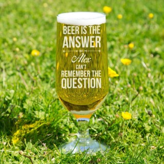 Comical Beer is the Answer Glass Chalice
