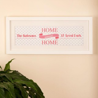 Personalised Home Sweet Home Print: Pink Polka Dot Design