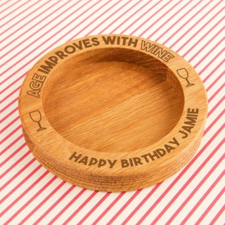 Funny Engraved Age Improves with Wine Oak Bottle Coaster