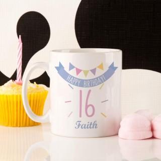 Girls 16th Birthday Bunting Mug