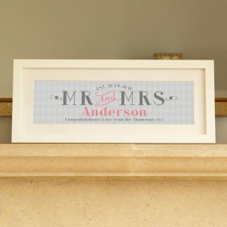 Grey & Pink Wedding & Anniversary Framed Print