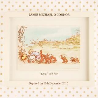 Personalised Winnie the Pooh Print & Engraved Frame – Baptism
