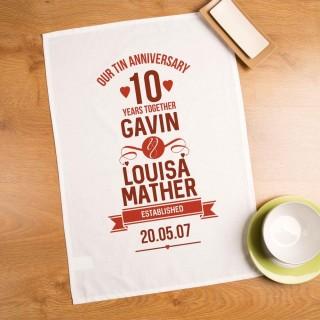 Customised 10th Wedding Anniversary Tea Towel