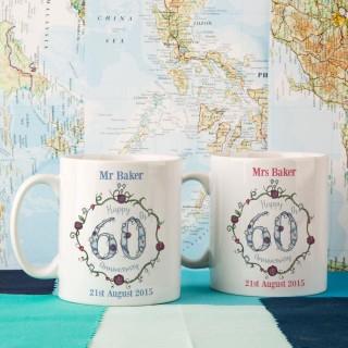 Personalised 60th Wedding Anniversary Mug Set