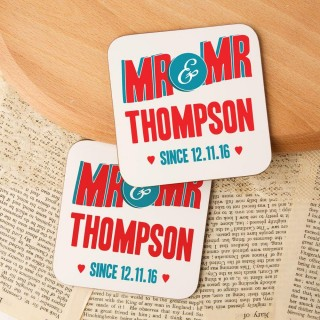 Customised Mr & Mr Double Coaster Set
