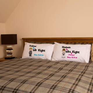 Personalised Mr Right & Mrs Always Right Pillowcase Set