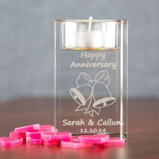 Anniversary Glass Tealight Holder: Bells