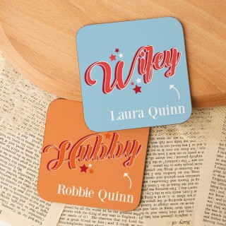 Cute Hubby and Wifey Customised Double Coaster Set