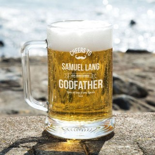 Personalised Awesome Godfather Glass Beer Tankard: Special Offer