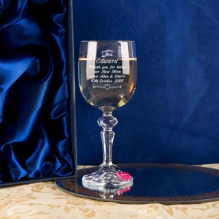 Personalised Bestman Wine Glass With Wine Charm and Gift Box
